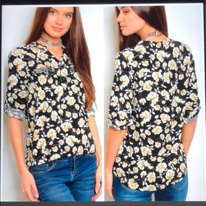 Black , gold and white floral print top